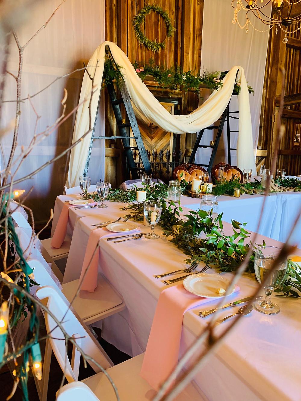 Family style wedding dinner table, Colorado wedding