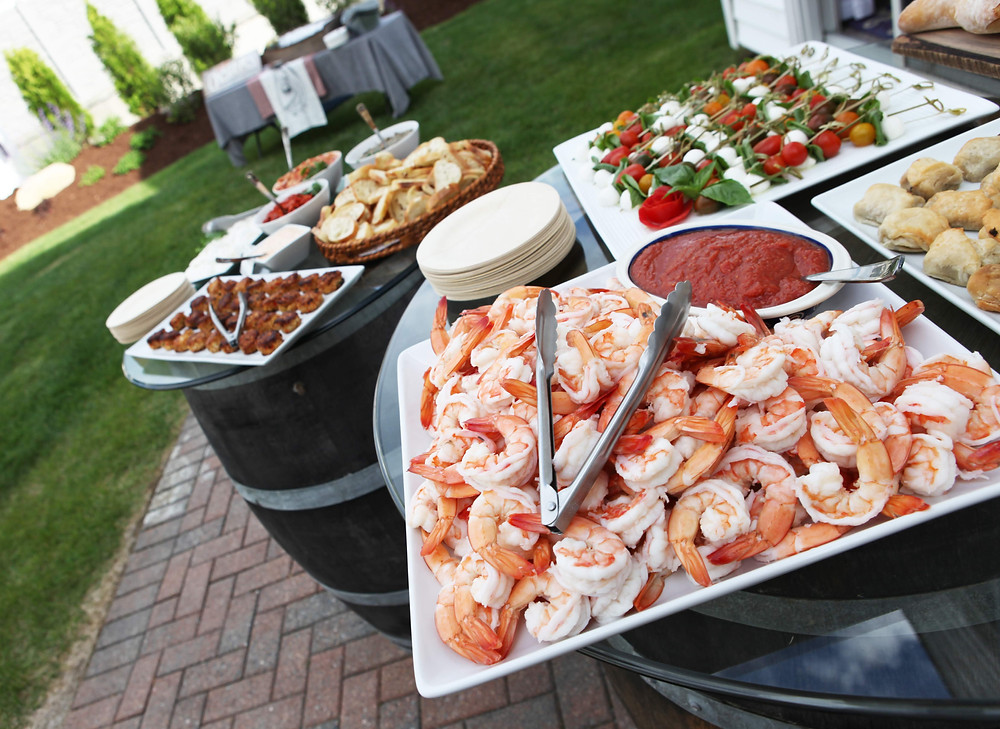 shrimp, barrel tables, appetizers, cocktail party, rehearsal dinner