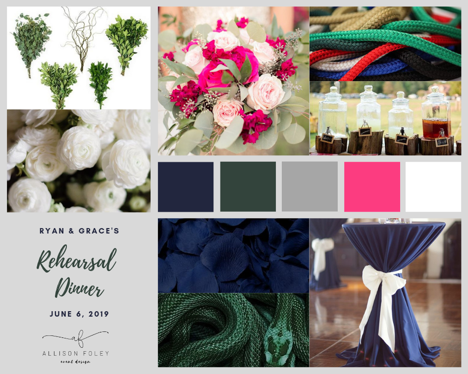 vision board for a white, navy, green, pink wedding climbing, cocktail tables, drink table, Allison Foley Event Design, Colorado Wedding Planner