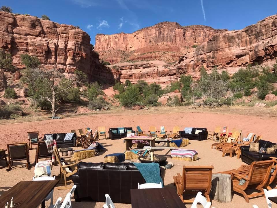 Picnic wedding setup at Gateway Canyons Resort, Gateway Colorado