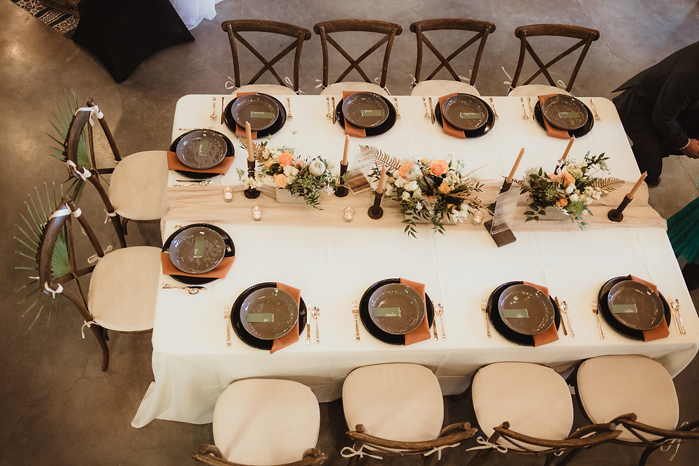King's table with padded x-back chairs at Orchard River View, Palisade Colorado Wedding design