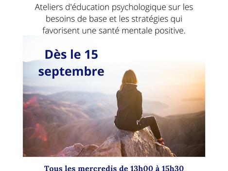 Retour des ateliers à la maison de la Famille St-Ambroise dès le 15 septembre.