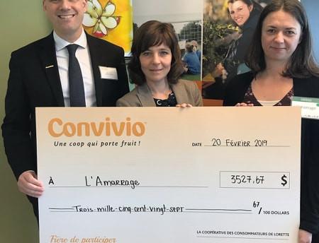 Convivio IGA remet 3527,67 $ en don à l'Amarrage