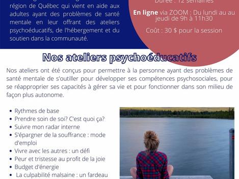 Vous pouvez maintenant suivre nos ateliers psychoéducatifs en ligne!