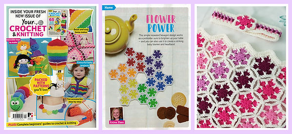 Flower Power pot holder, baby blanket and headband from Your Crochet & Knitting issue 9