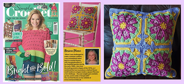 photos of Heart of Summer cushion in Simply Crochet issue 87