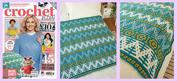 Photos of Norway Spruce blanket in Crochet Now issue 46