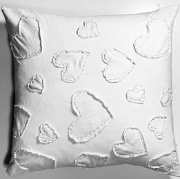 White Handcrafted Heart Pillow