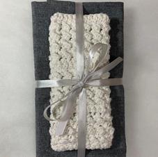 Cream and Charcoal Tea Towels and Wash Cloth