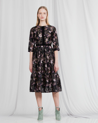 FIL COUPE' ROSE PRINT DRESS