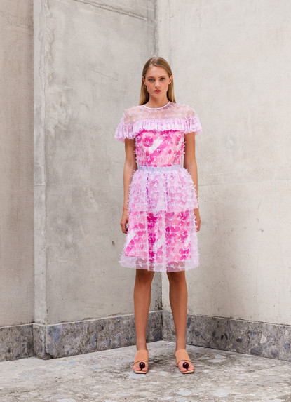 RIBOON TULLE PRINT DRESS