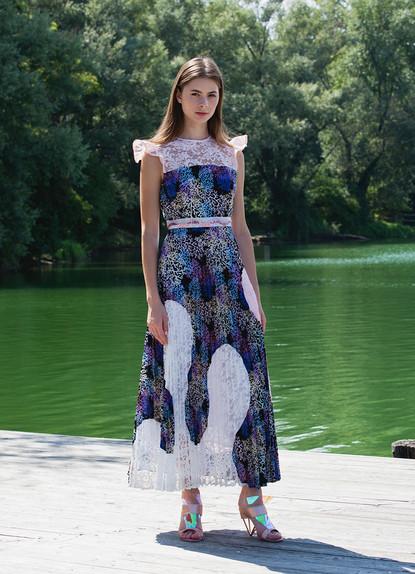 CORAL PRINT PLISSE' DRESS