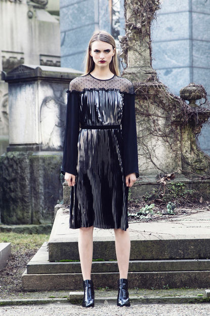 PLATON FOIL PLISSE' DRESS
