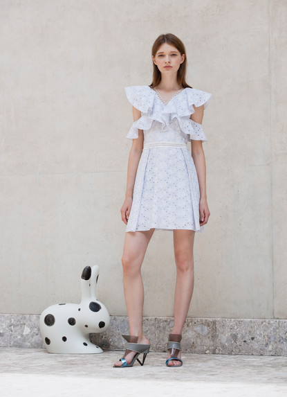 CROSS FRILL SANGALLO  DRESS