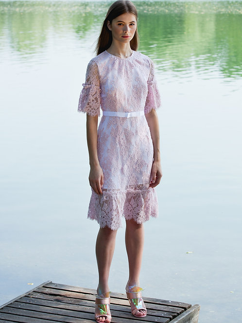 CORAL CHANTILLY LACE GATHERED DRESS