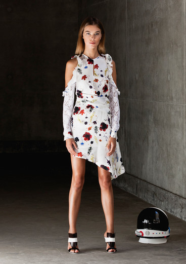 SPACE FLORAL DRAPING DRESS