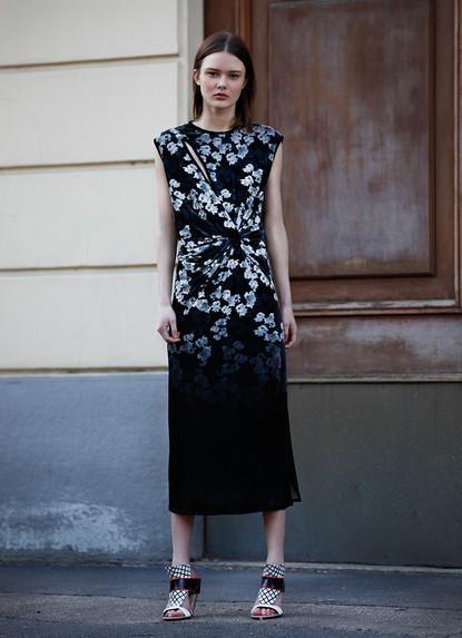 FLORAL PRINTED VELVET DRESS