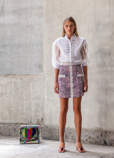 ESTATE CHANTILLY LACE BLOUSE / TWEED SKIRT