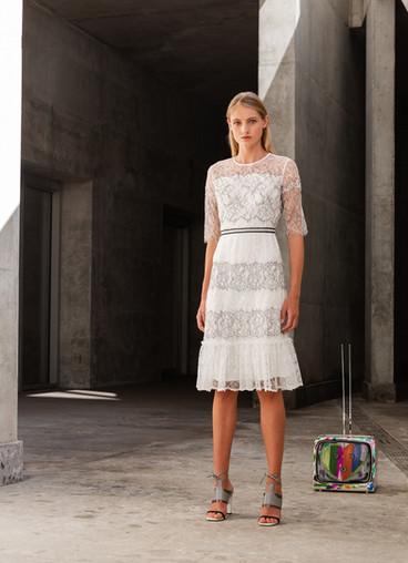 BLACK & WHITE ESTATE CHANTILLY LACE DRESS