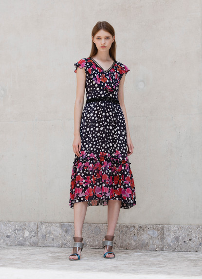 PRINT CHIFFON V NECK FRILL DRESS
