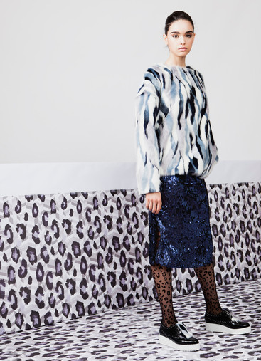 ECO FUR JUMPER & SEQUIN SKIRT