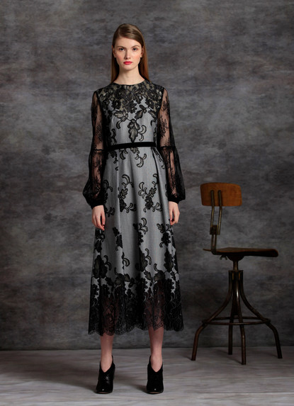 DEGRADE' FLORAL LACE GOWN