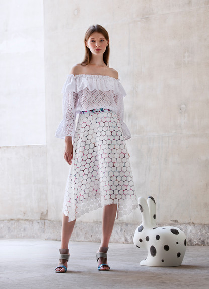 FIORI SANGALLO TOP & POLKA DOTS MACRAME' SKIRT