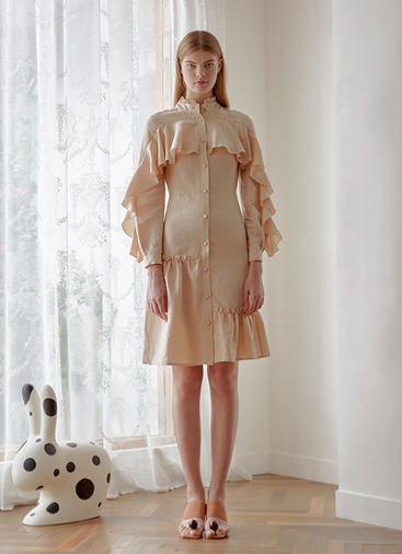 LINEN RUFFLE SHIRT DRESS