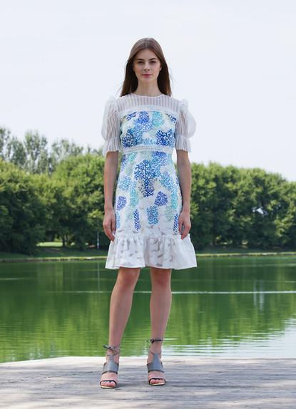 FIL COUPE' CORAL PRINT DRESS