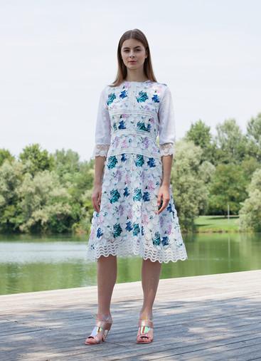 DOT FIL COUPE' PRINT DRESS