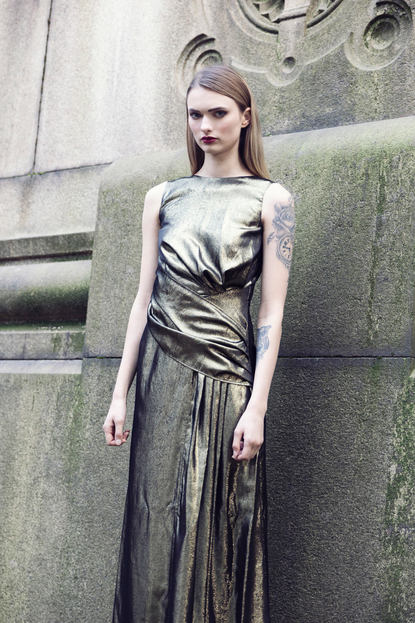 GOLD DRAPED EVENING DRESS
