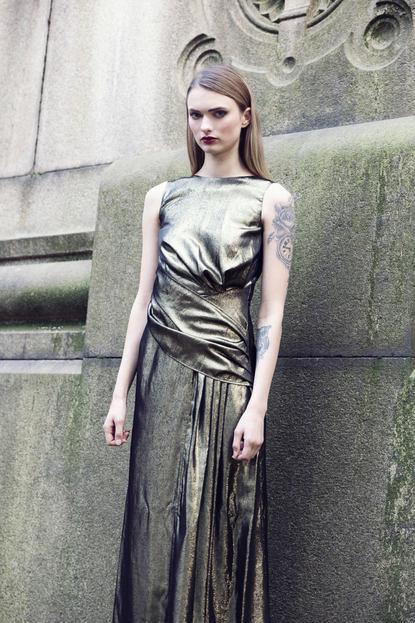 GOLD DRAPED EVENING DRESS