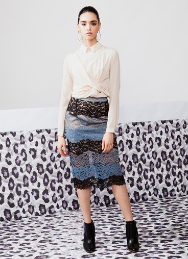 DRAPED SILK BLOUSE & DEGRADE' LACE SKIRT