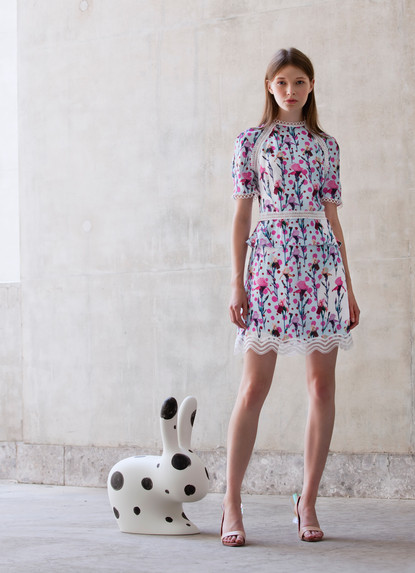 IRIS PRINT RAGLAN DRESS