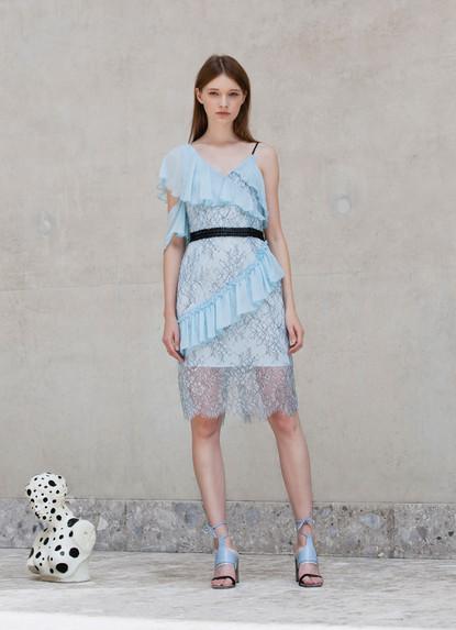 ASYMMETRY RUFFLE  CHANTILLY LACE  DRESS
