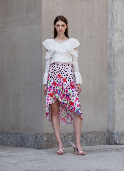 CROSS FRILL TOP & CROSS RUFFLE PRINT SKIRT