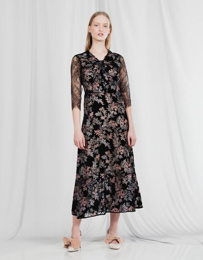 KNOT DEVORE' VELVET EVENING DRESS