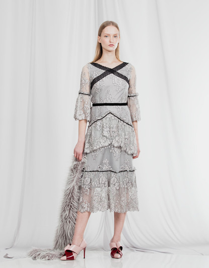 X CROSS CHANTILLY LACE DRESS