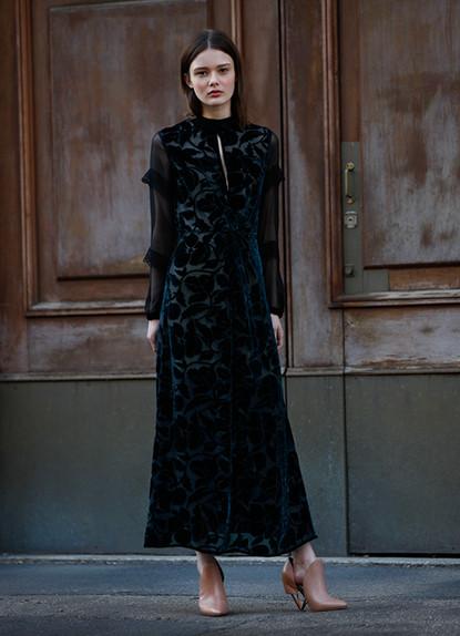 VELVET DEVORE' LONG DRESS