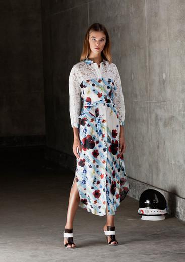 MARINE FLORAL SHIRT DRESS