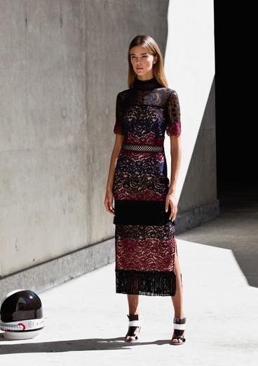 FRINGE DEGRADE' DRESS