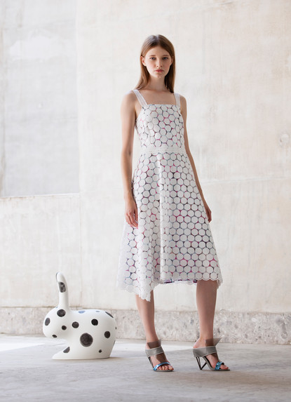 POLKA DOTS MACRAME' DRESS