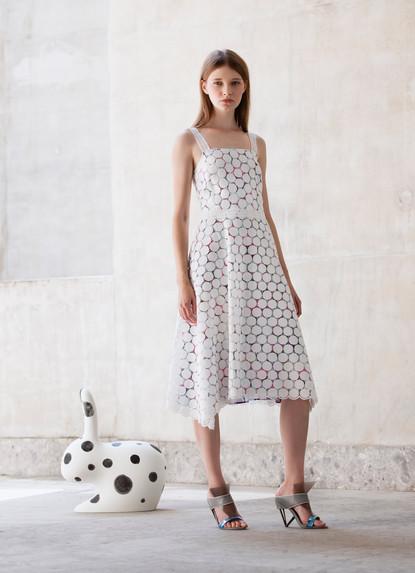 POLKA DOTS MACRAME' DRESS