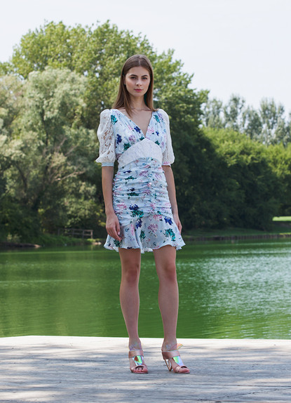 FRONT GATHERED PRINT DRESS