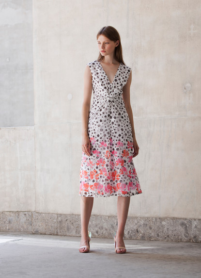 PRINT LACE KNOT DRESS