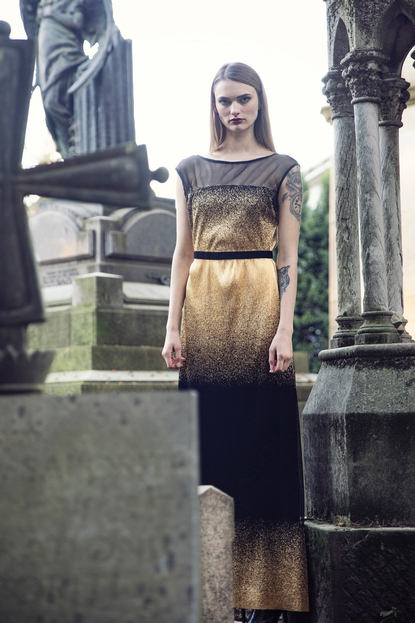 GOLD DEGRADE' EVENING DRESS