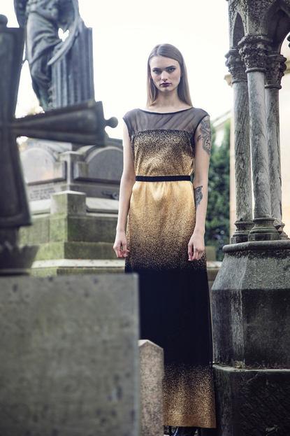 GOLD DEGRADE' EVENING DRESS
