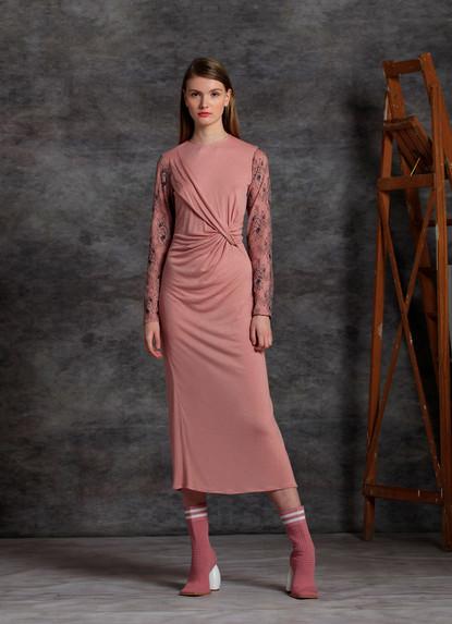 ASYMMETRICAL DRAPED JERSEY DRESS