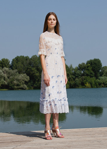 WAVE EMBROIDERY TULLE DRESS