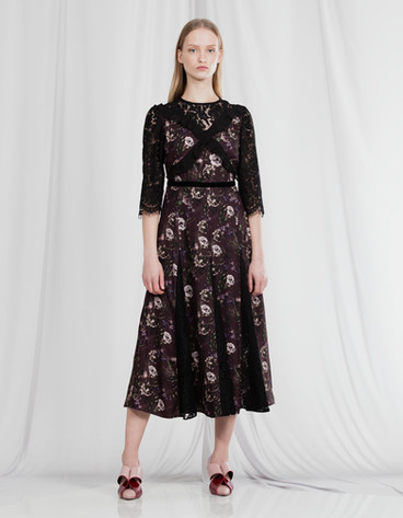 PRINTED FAN SKIRT GOWN